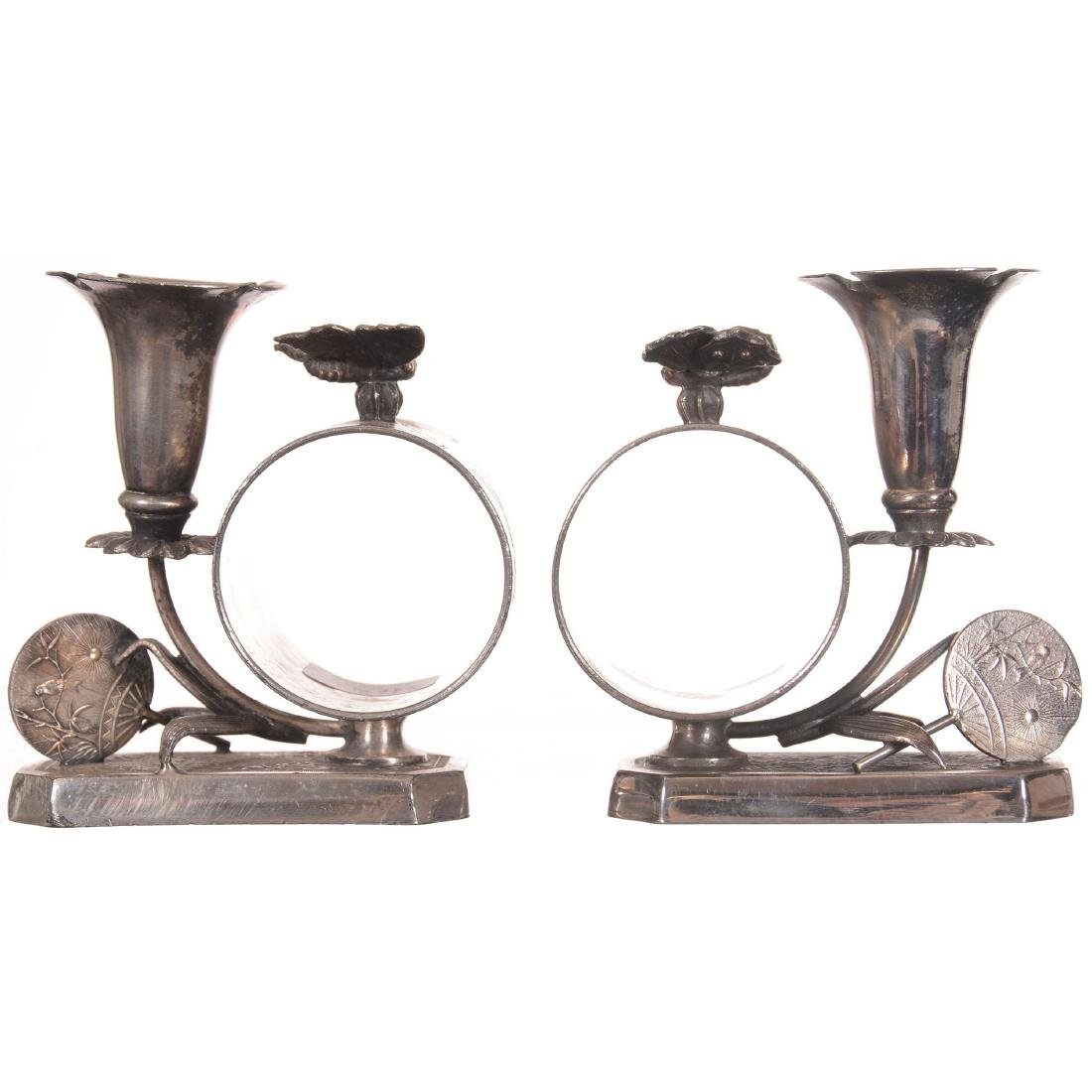 Pair Figural Silver-plate Napkin Rings with Bud Vases