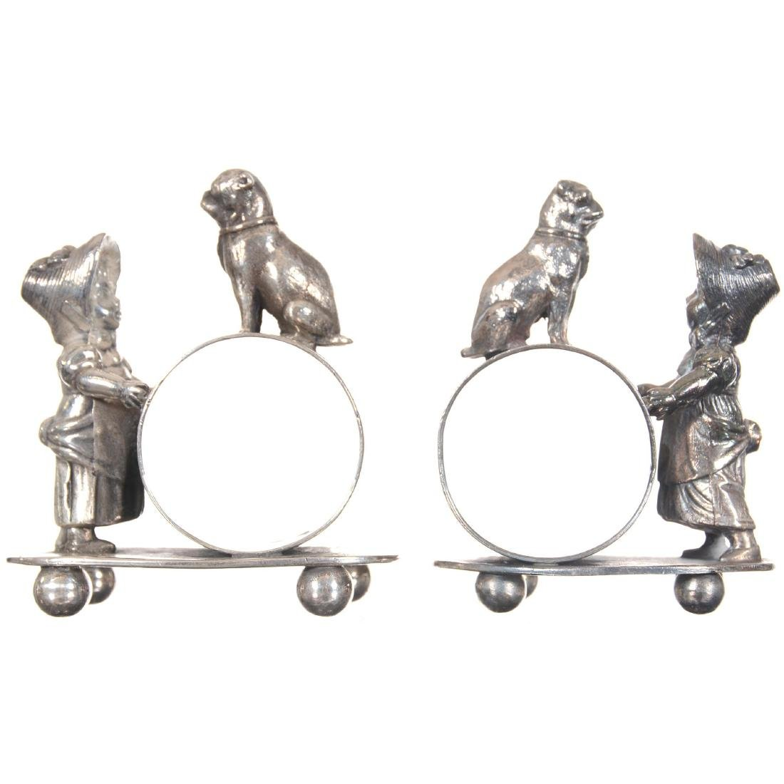 Pair Figural Silver-plate Napkin Rings