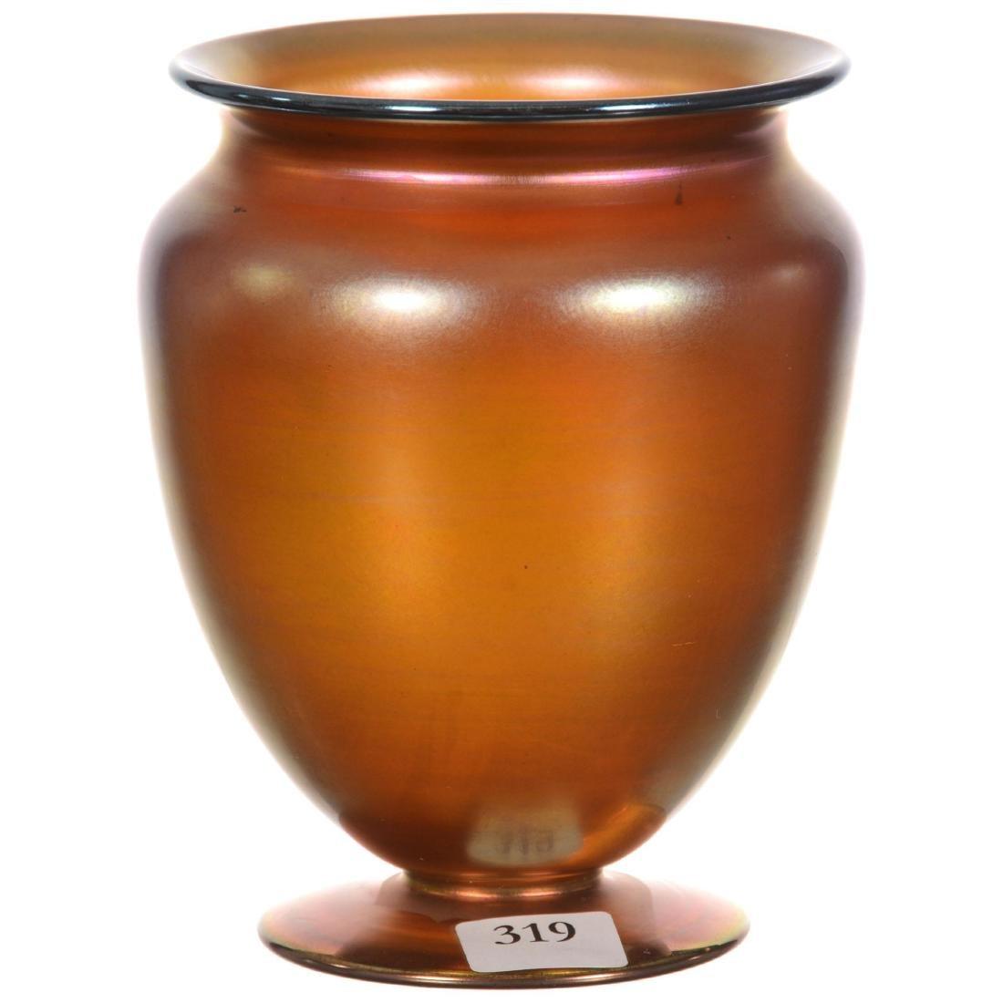 "Steuben (Marked ""Aurene #938"") Art Glass Footed Vase"