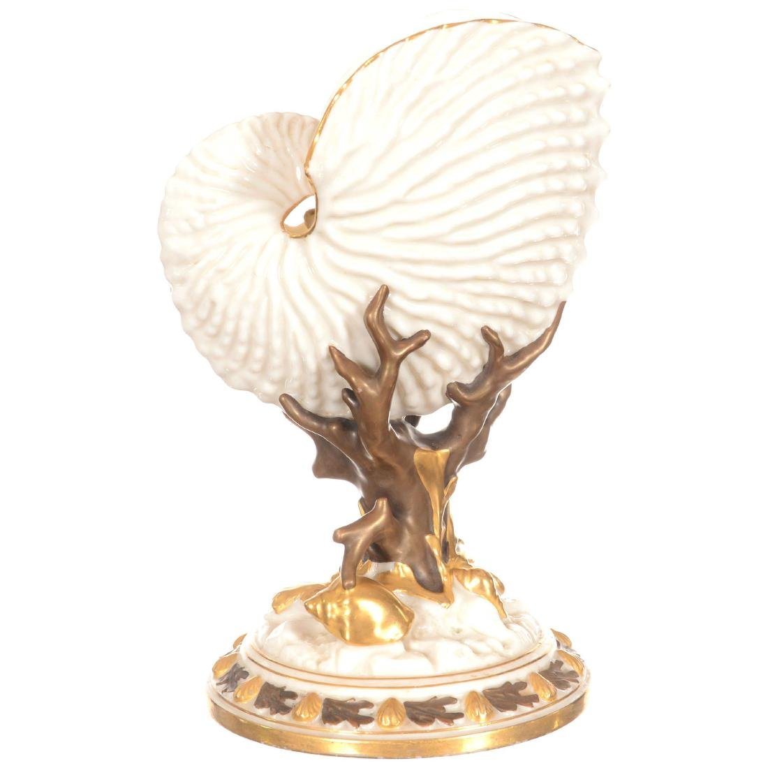 Royal Worcester Figural Nautilus Pedestal Vase