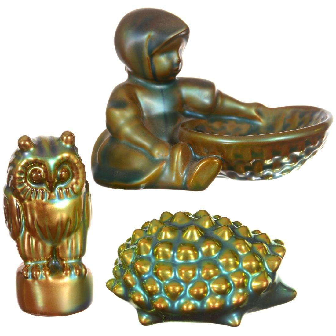 Three Marked Zsolnay Art Pottery Figural Items
