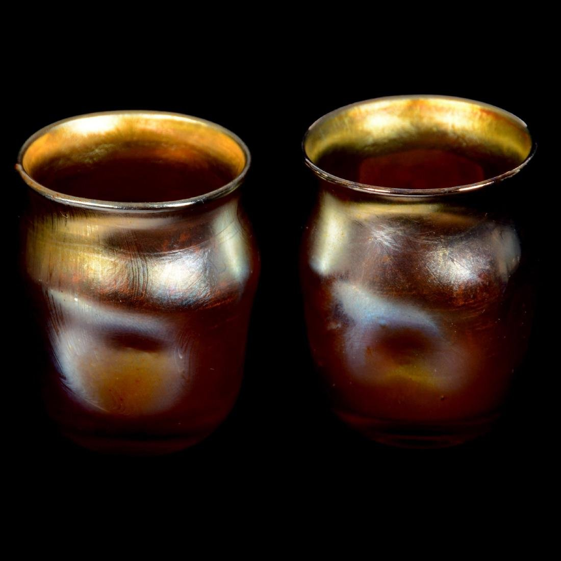 """Pair Signed """"LCT"""" Art Glass Dimpled Toothpick Holders"""