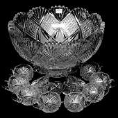 TwoPart Punch Bowl And 10 Matching Cups  ABCG