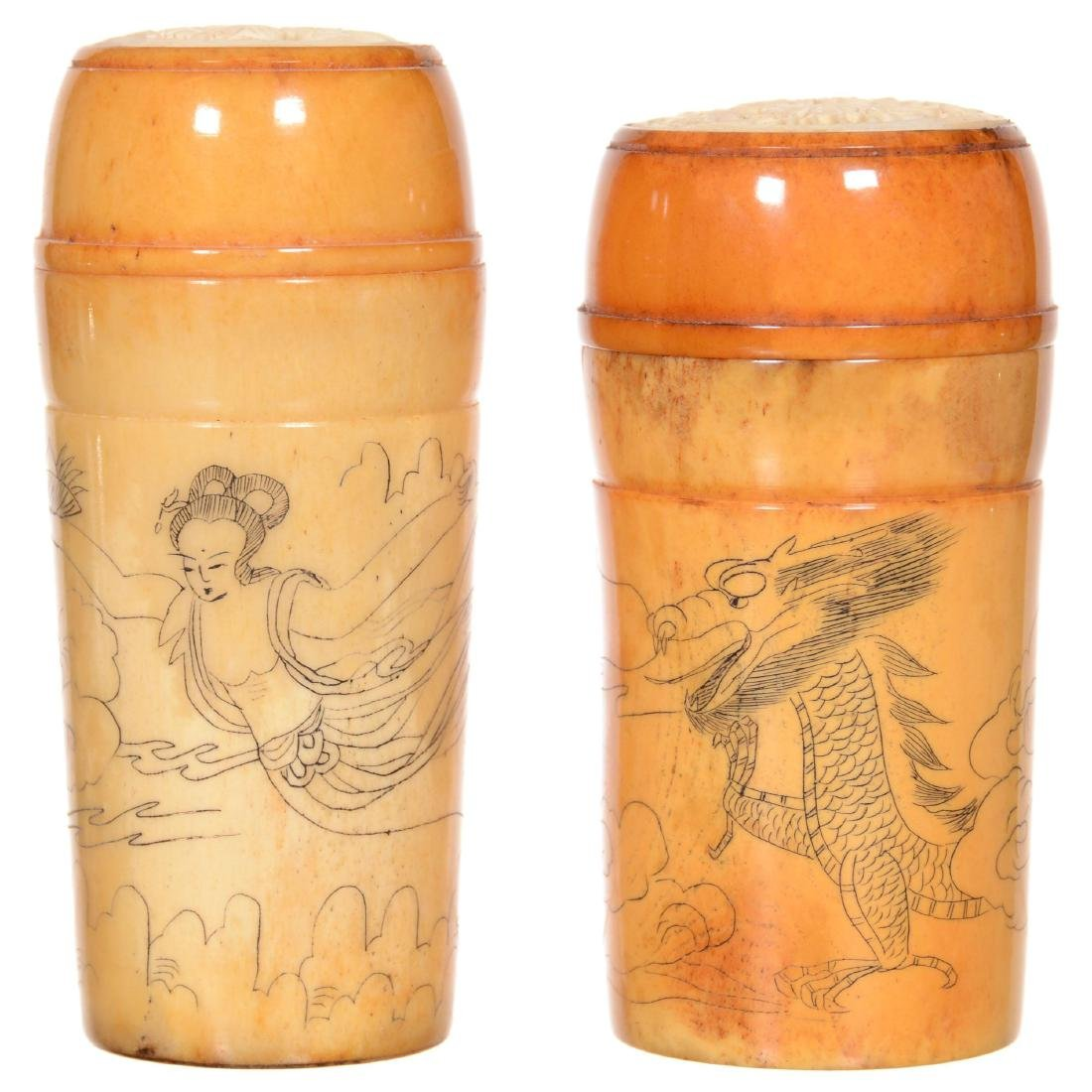Pair Bone Covered Jars with Carved Medallions