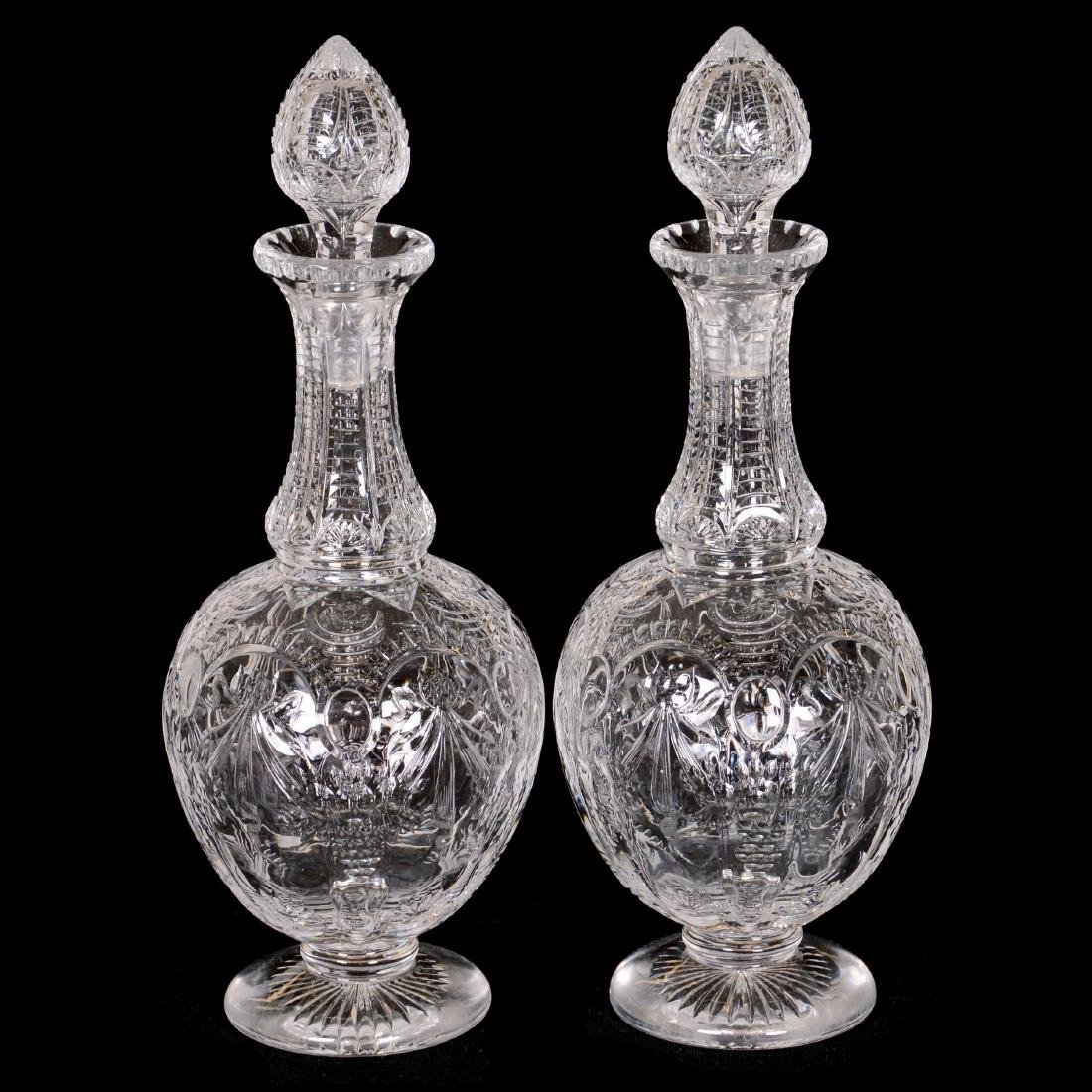 Pair Rock Crystal Pedestal Decanters