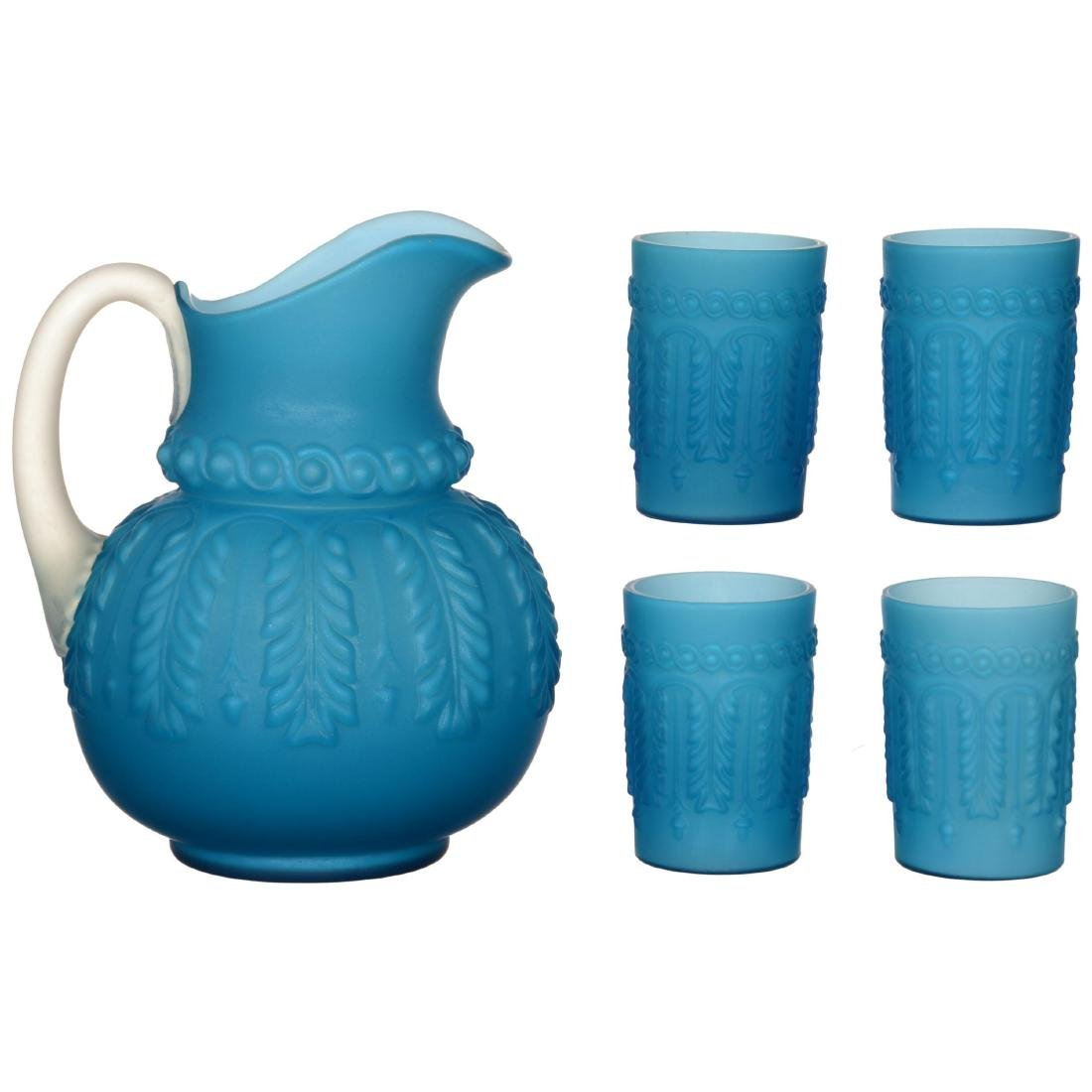 Frosted Blue Cased Art Glass Water Set