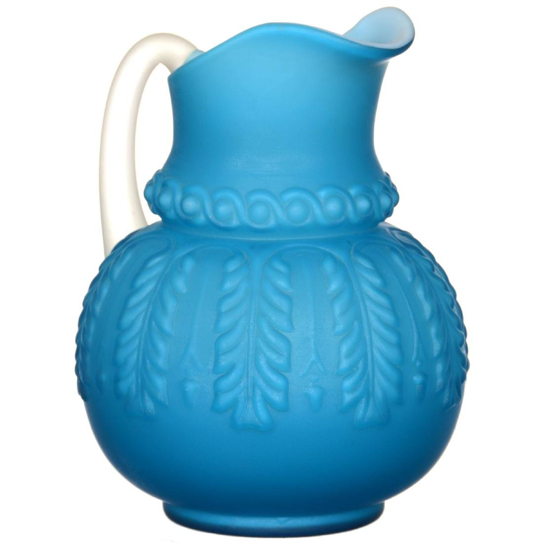 Frosted Blue Cased Art Glass Water Set - 2
