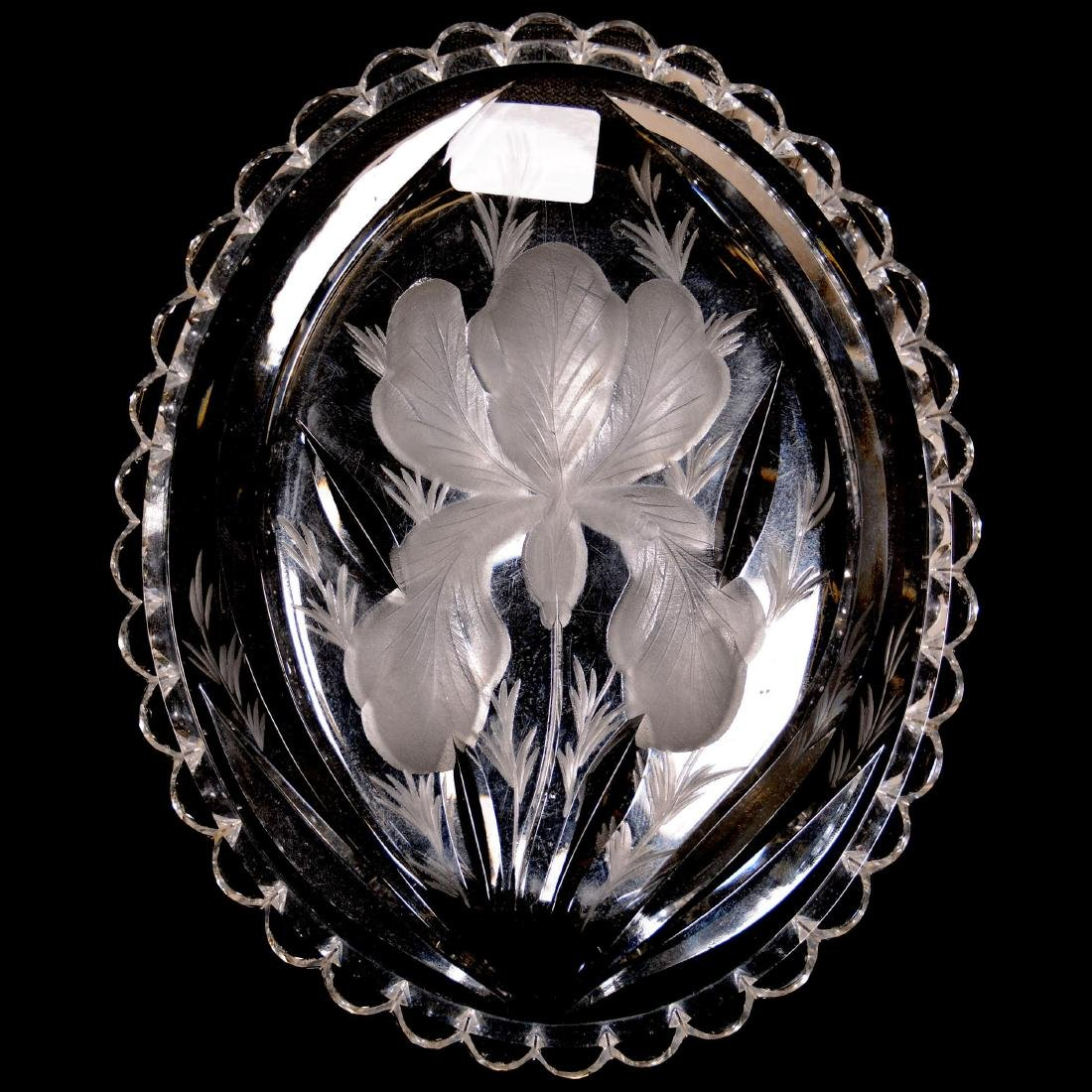 American Brilliant Cut Glass Oval Tray