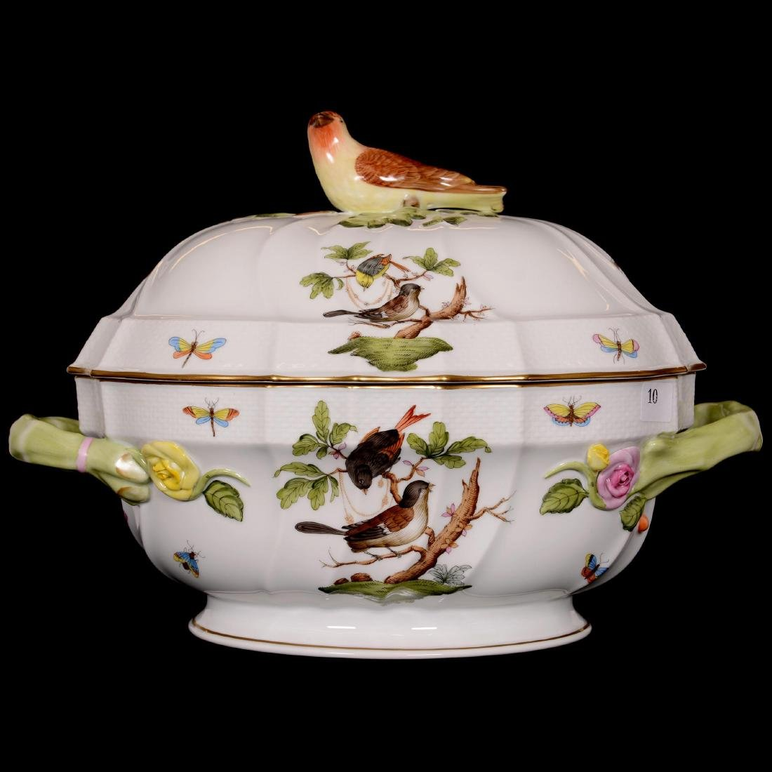 Herend Hungary Porcelain Hand Painted Covered Tureen