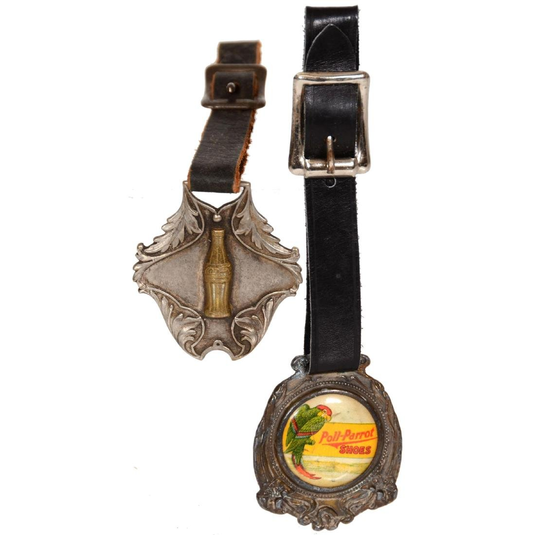 (2) Advertising Watch Fobs with Leather Straps
