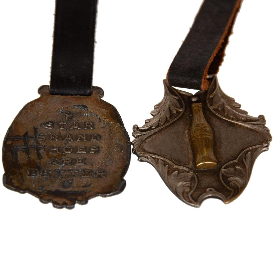 (2) Advertising Watch Fobs with Leather Straps - 2
