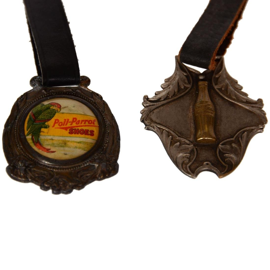 (2) Advertising Watch Fobs with Leather Straps - 3