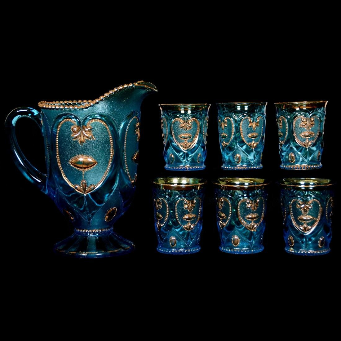 EAPG Blue with Gold Trim Water Set