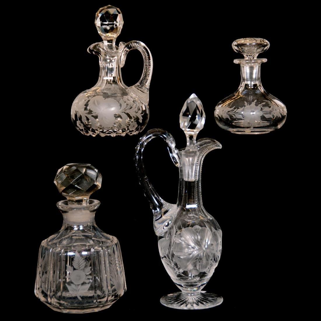 (4) Cut Glass Bottles