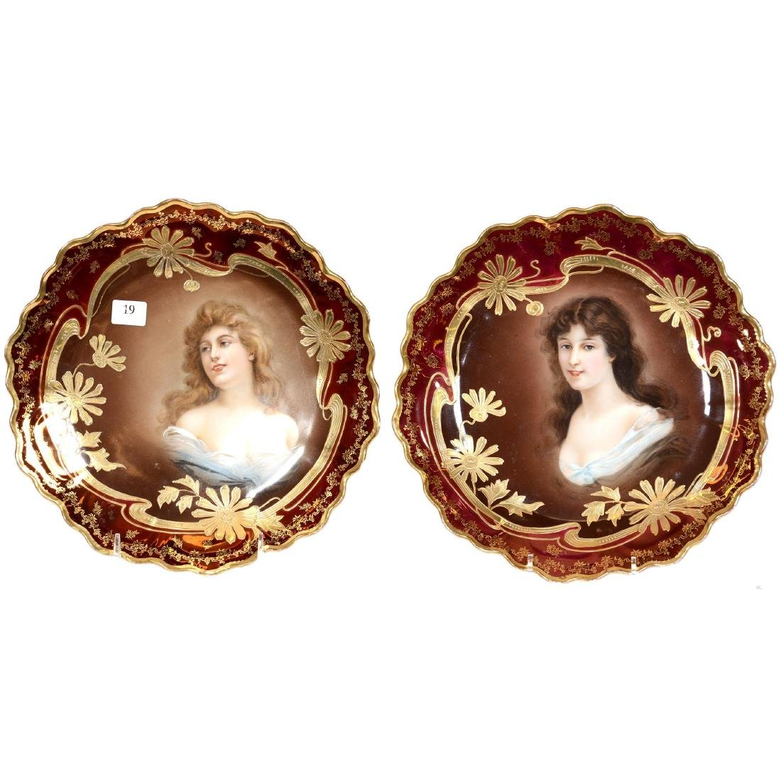 Pair Royal Vienna Beehive Portrait Plates