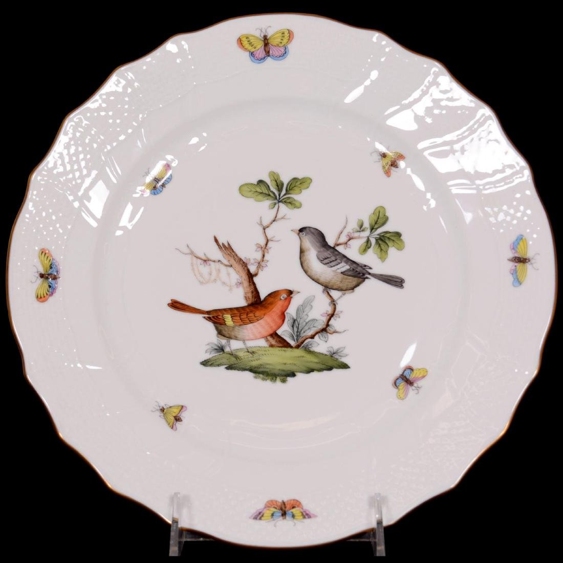 (21) Herend Hungary Porcelain Hand Painted Dinner Plate - 2