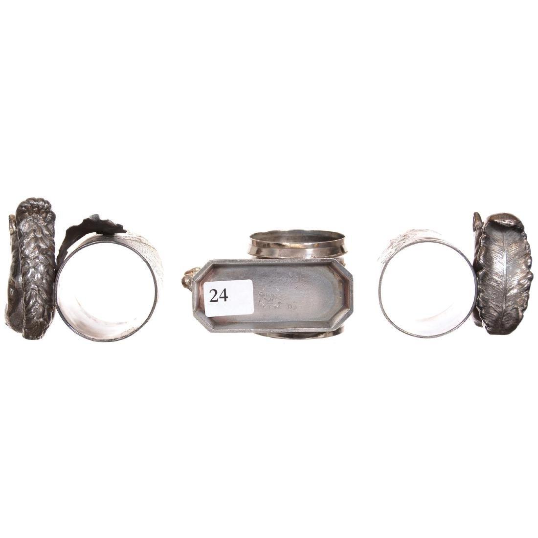 (3) Silverplate Victorian Napkin Rings - 3