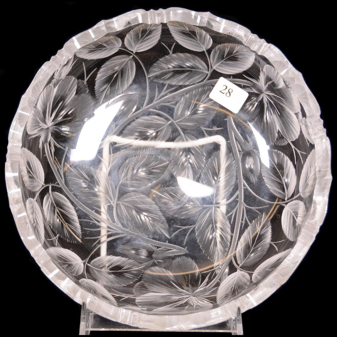 American Brilliant Cut Glass Low Bowl - 3