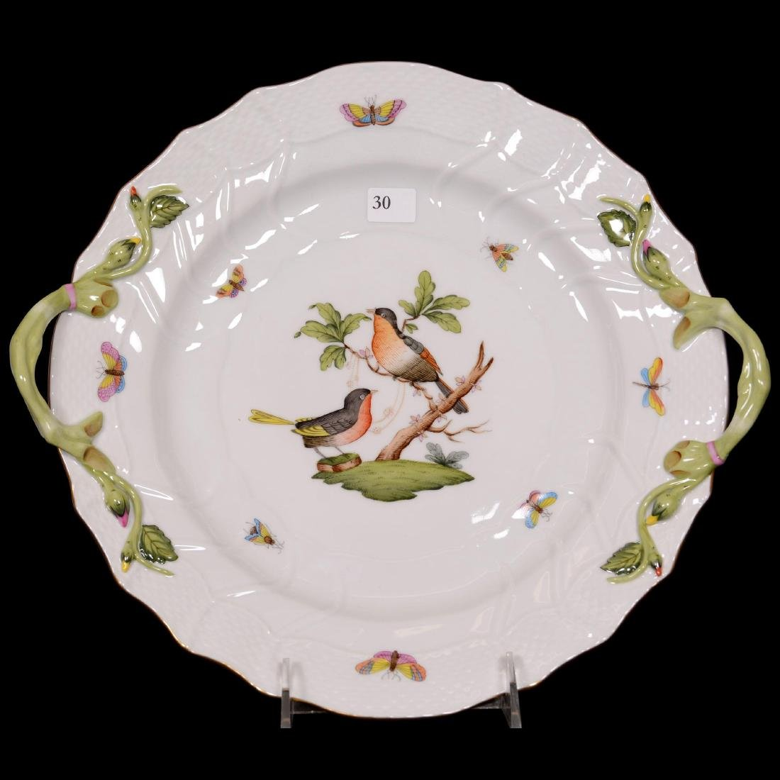 Herend Hungary Porcelain Hand Painted Two-Handled Cake