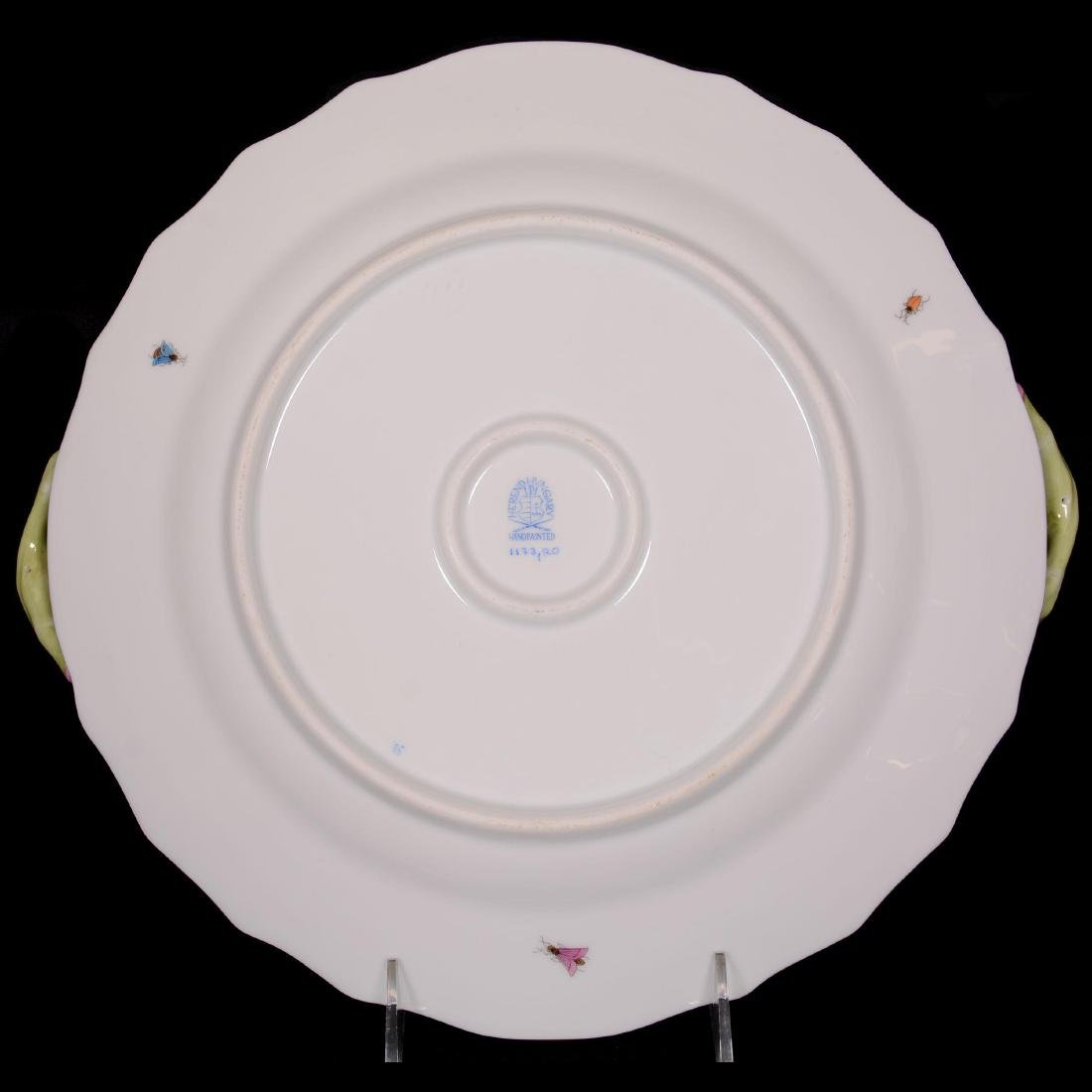 Herend Hungary Porcelain Hand Painted Two-Handled Cake - 2