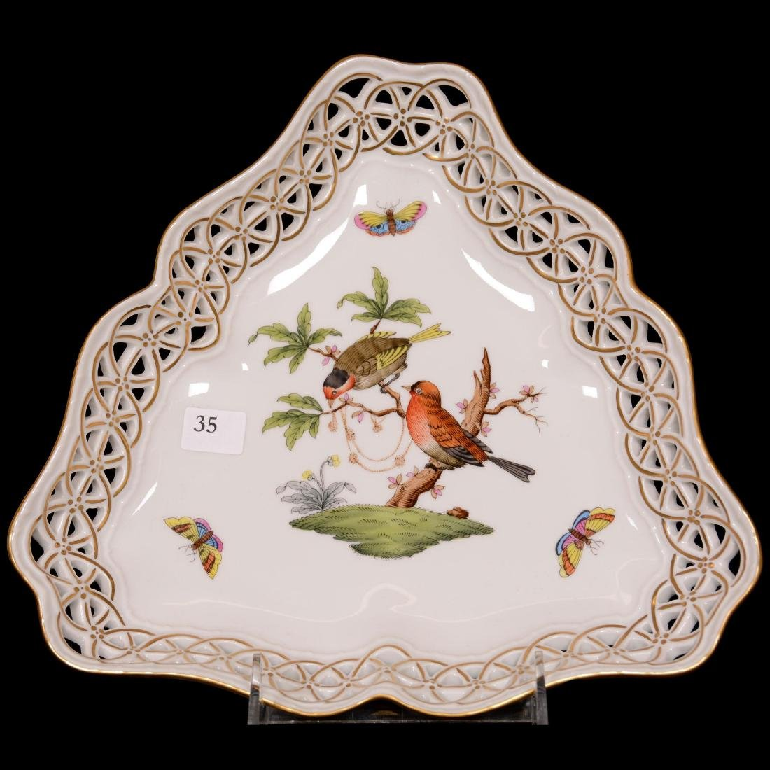 Herend Hungary Porcelain Hand Painted Tri-Corner Bowl
