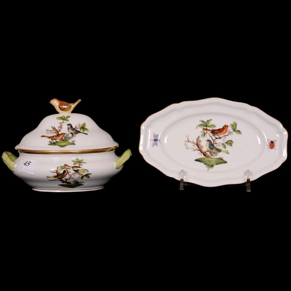 Herend Hungary Porcelain Hand Painted Miniature Covered