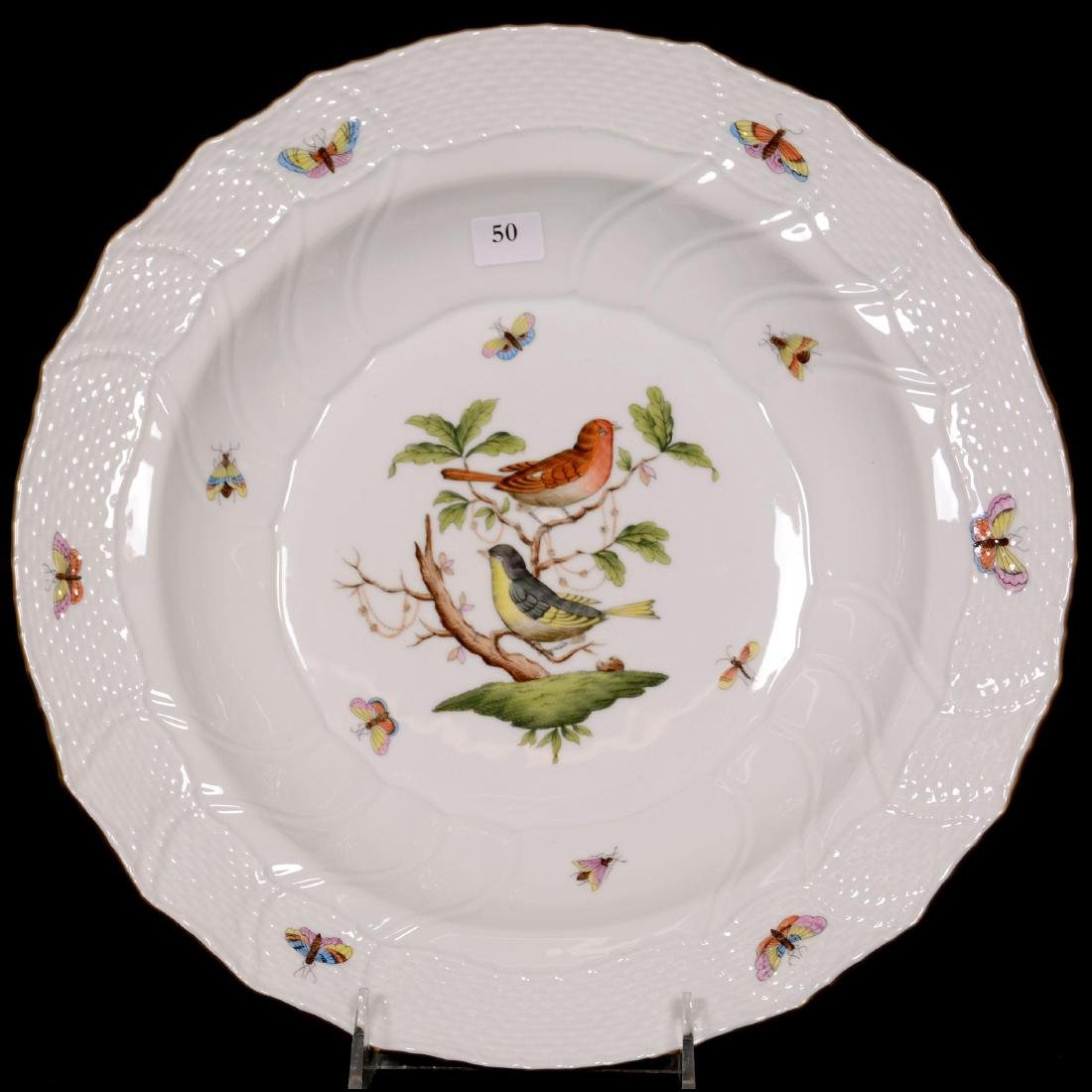 Herend Hungary Porcelain Hand Painted Large Low Bowl