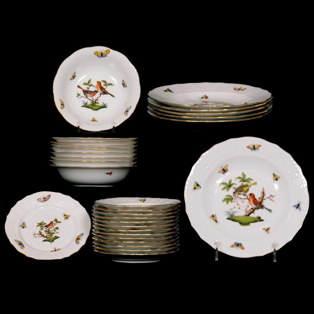 (28) Herend Hungary Porcelain Hand Painted Assorted Ite
