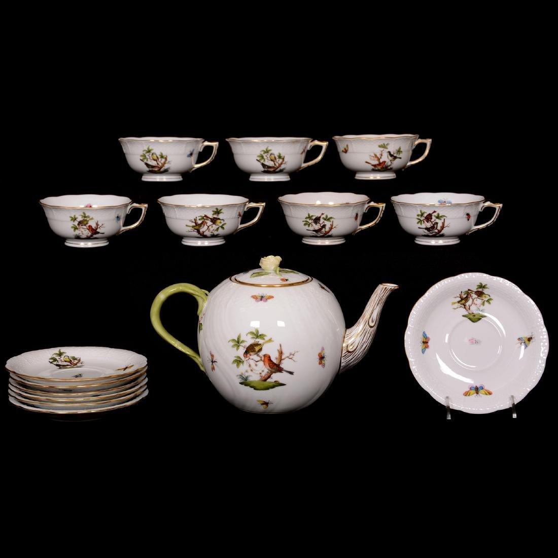 Herend Hungary Porcelain Hand Painted Fifteen Piece Tea