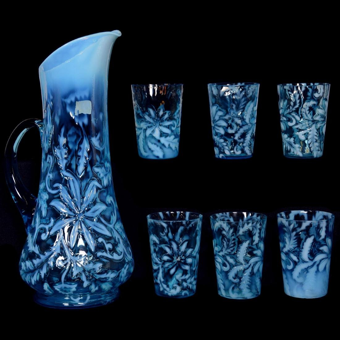 EAPG Blue Opalescent Water Set