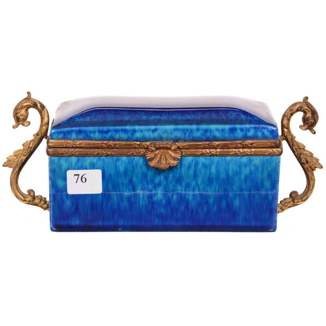 French Faience Pottery Hinged Box
