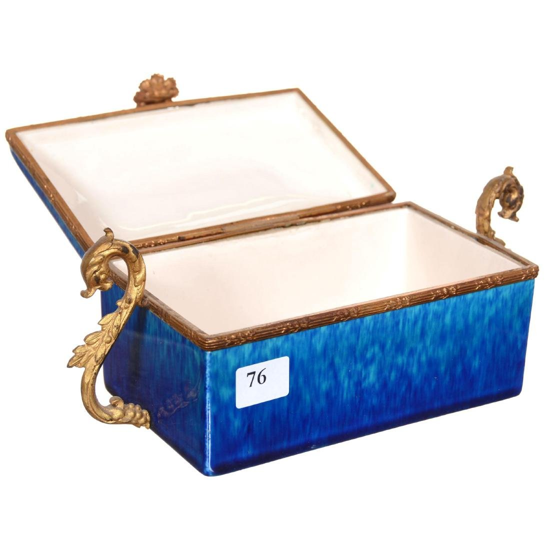 French Faience Pottery Hinged Box - 2