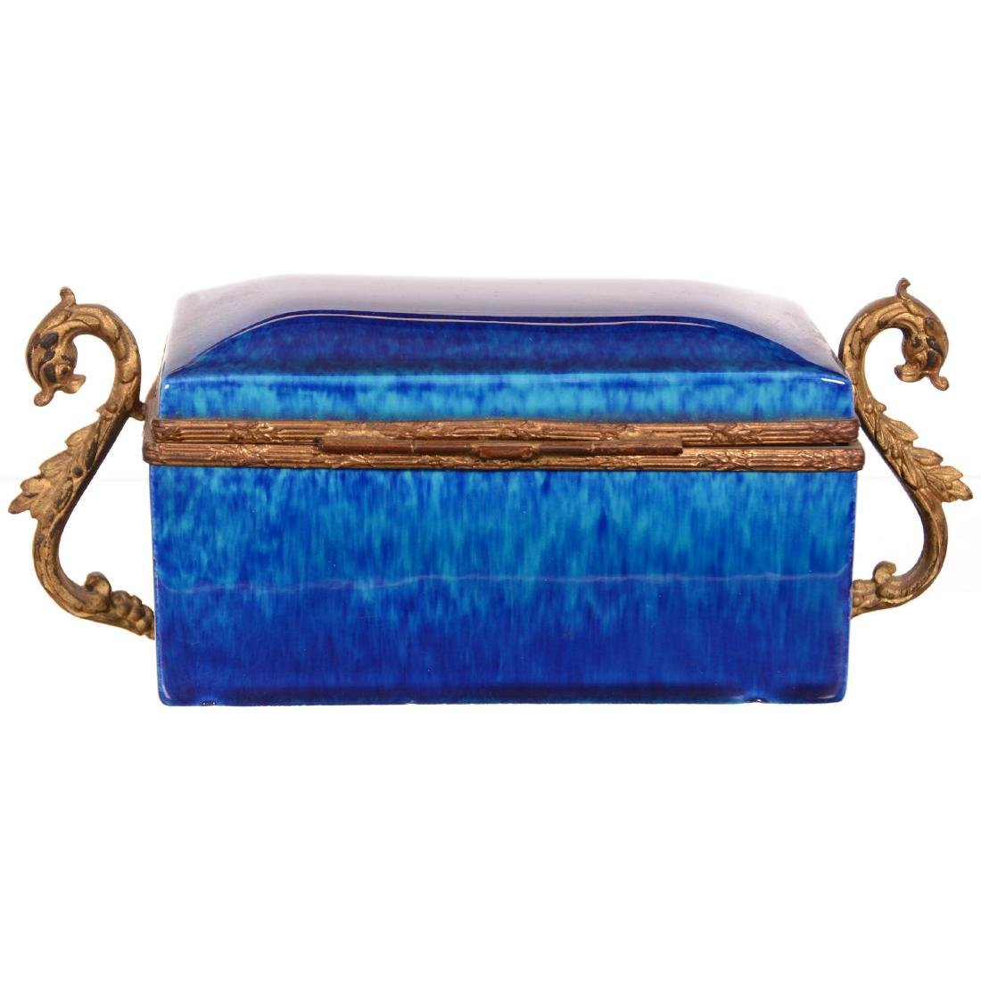 French Faience Pottery Hinged Box - 3
