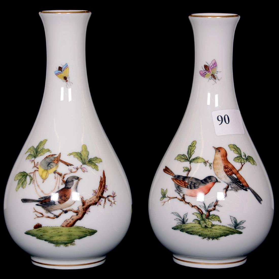 """(2) Herend Hungary Porcelain Hand Painted 6"""" Bud Vases"""