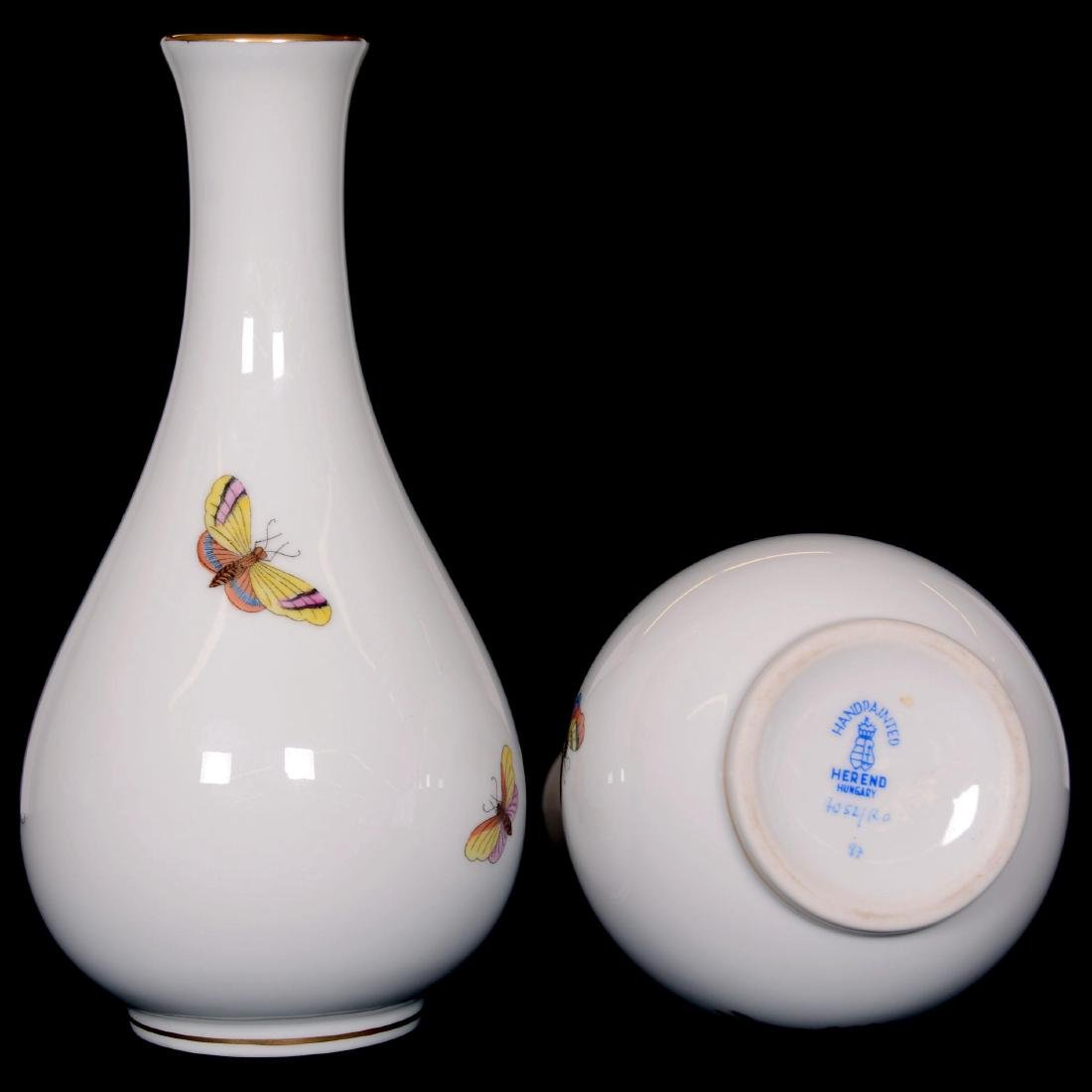 """(2) Herend Hungary Porcelain Hand Painted 6"""" Bud Vases - 2"""