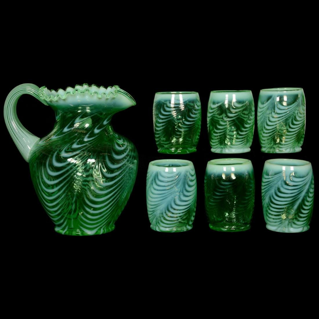 Modern Fenton Green Opalescent Waterset