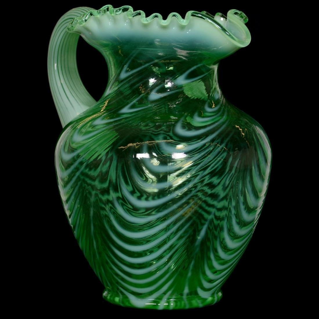 Modern Fenton Green Opalescent Waterset - 2