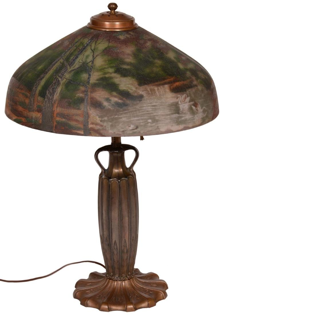 Table Lamp with Reverse Painted and Exterior Painted Sh
