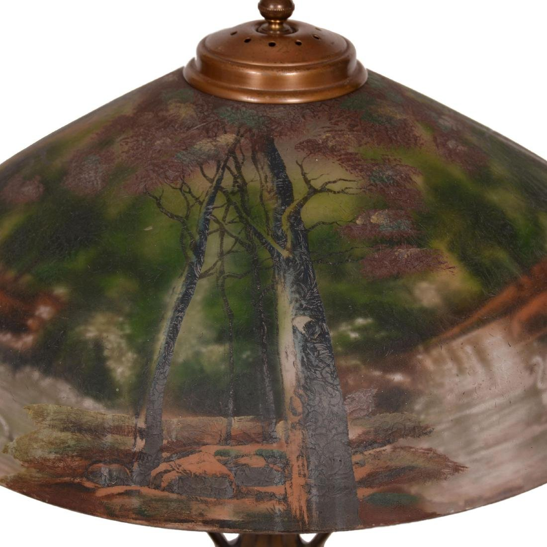 Table Lamp with Reverse Painted and Exterior Painted Sh - 3