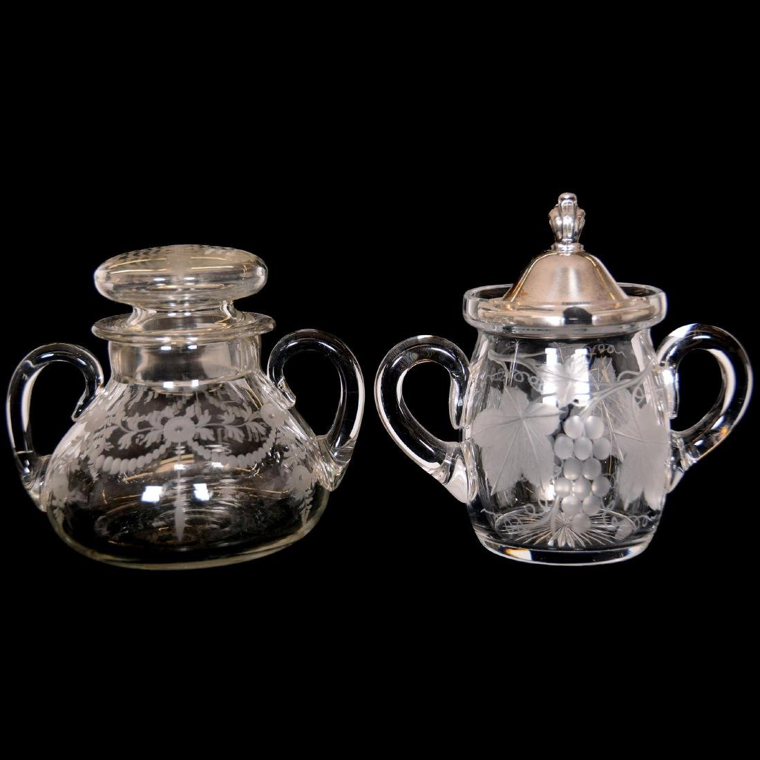 (2) American Brilliant Cut Glass Covered Jars