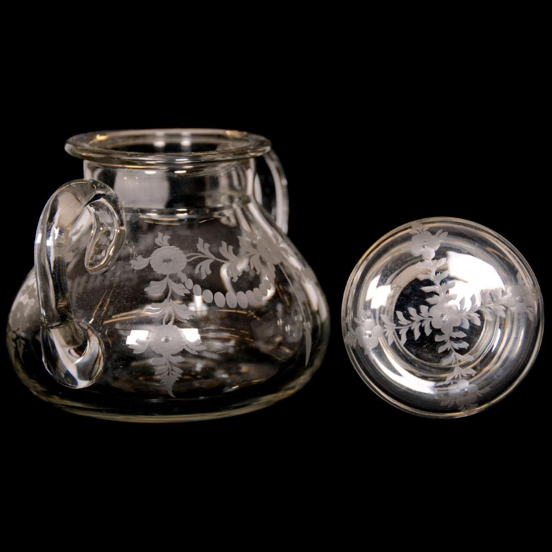 (2) American Brilliant Cut Glass Covered Jars - 2
