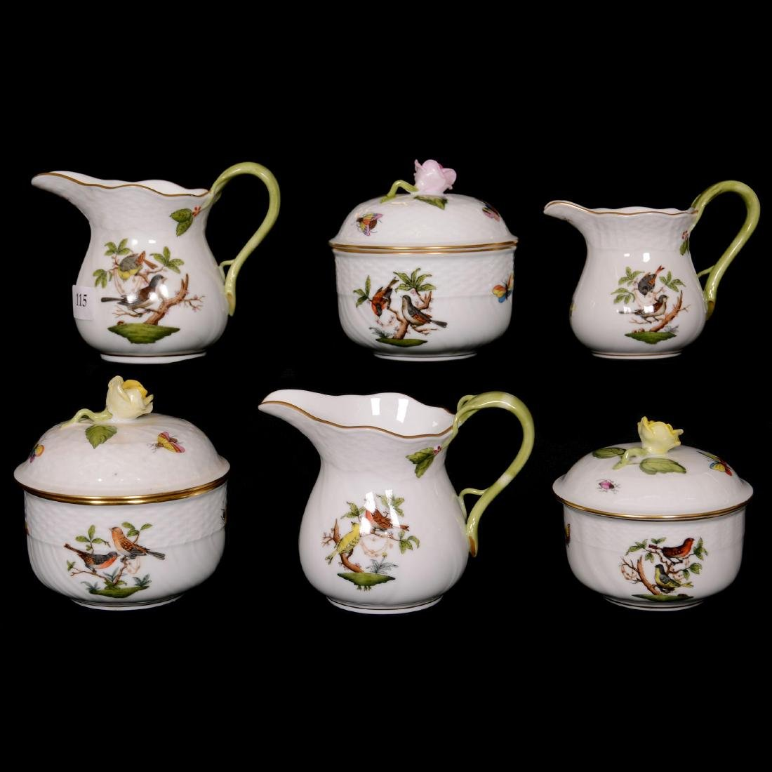 (6) Herend Hungary Porcelain Hand Painted Items