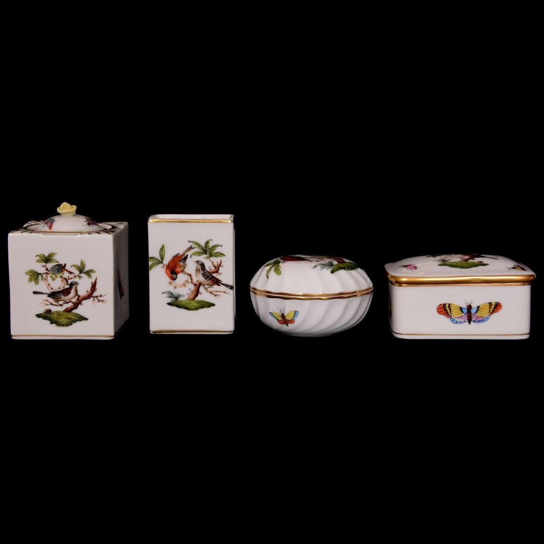 (4) Herend Hungary Porcelain Hand Painted Items
