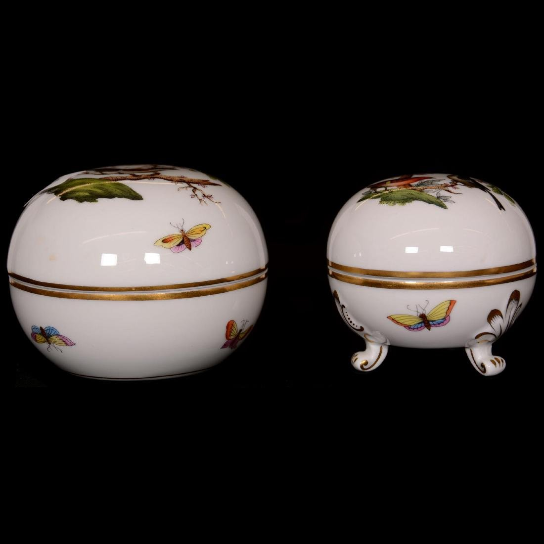 (2) Herend Hungary Porcelain Hand Painted Round Covered