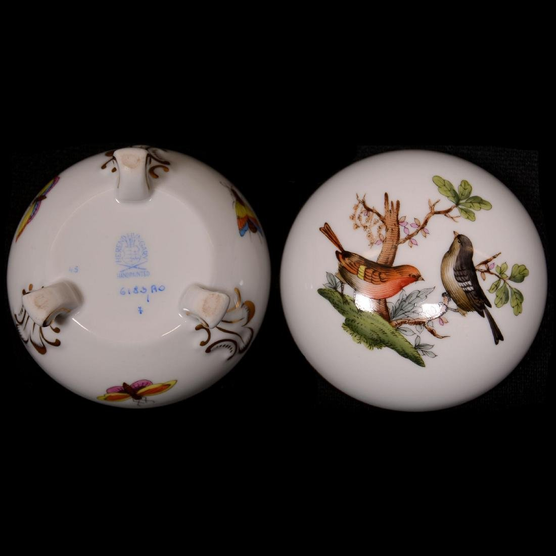 (2) Herend Hungary Porcelain Hand Painted Round Covered - 2