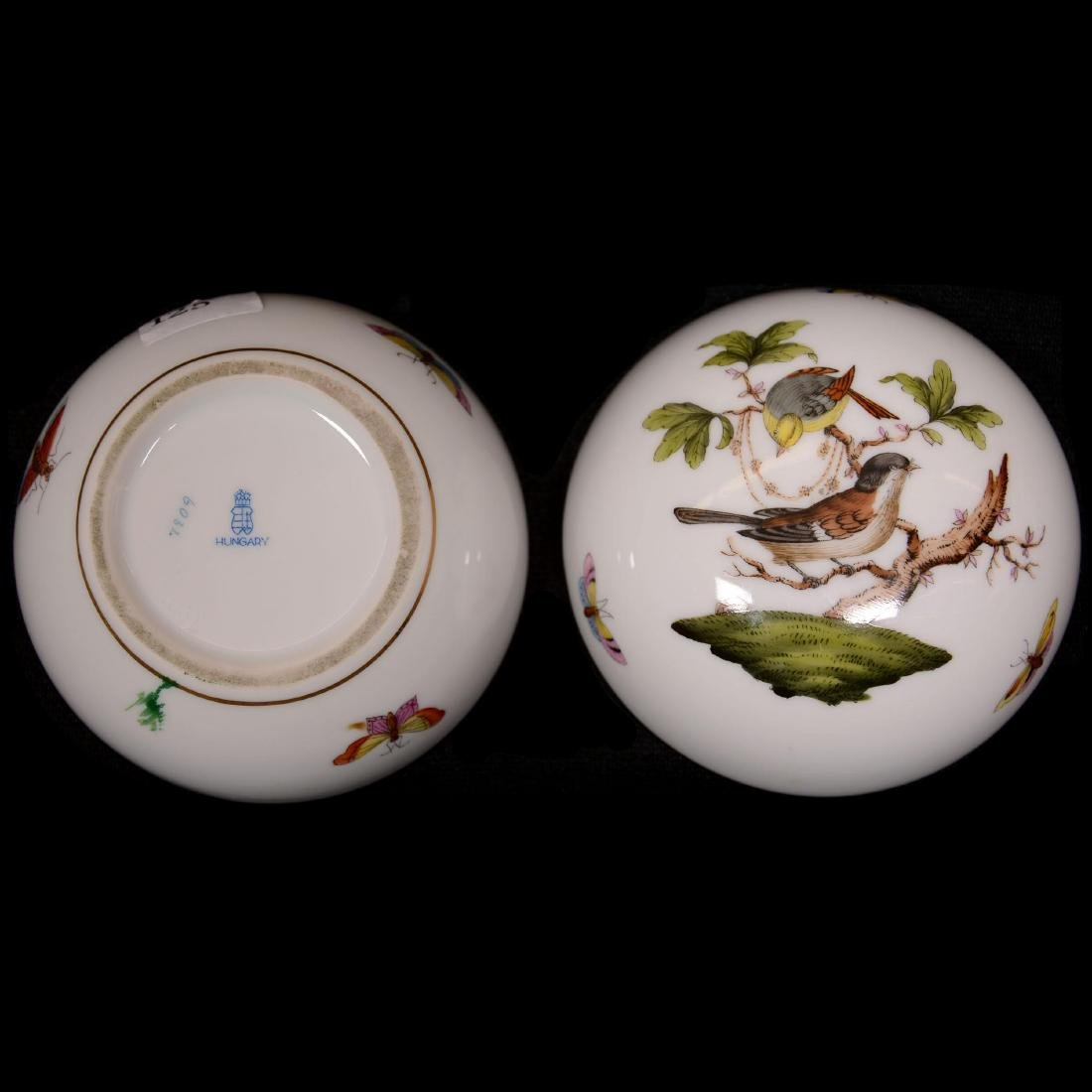 (2) Herend Hungary Porcelain Hand Painted Round Covered - 3