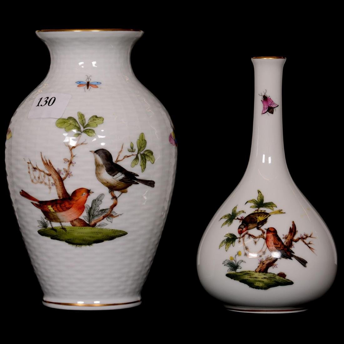 (2) Herend Hungary Porcelain Hand Painted Vases