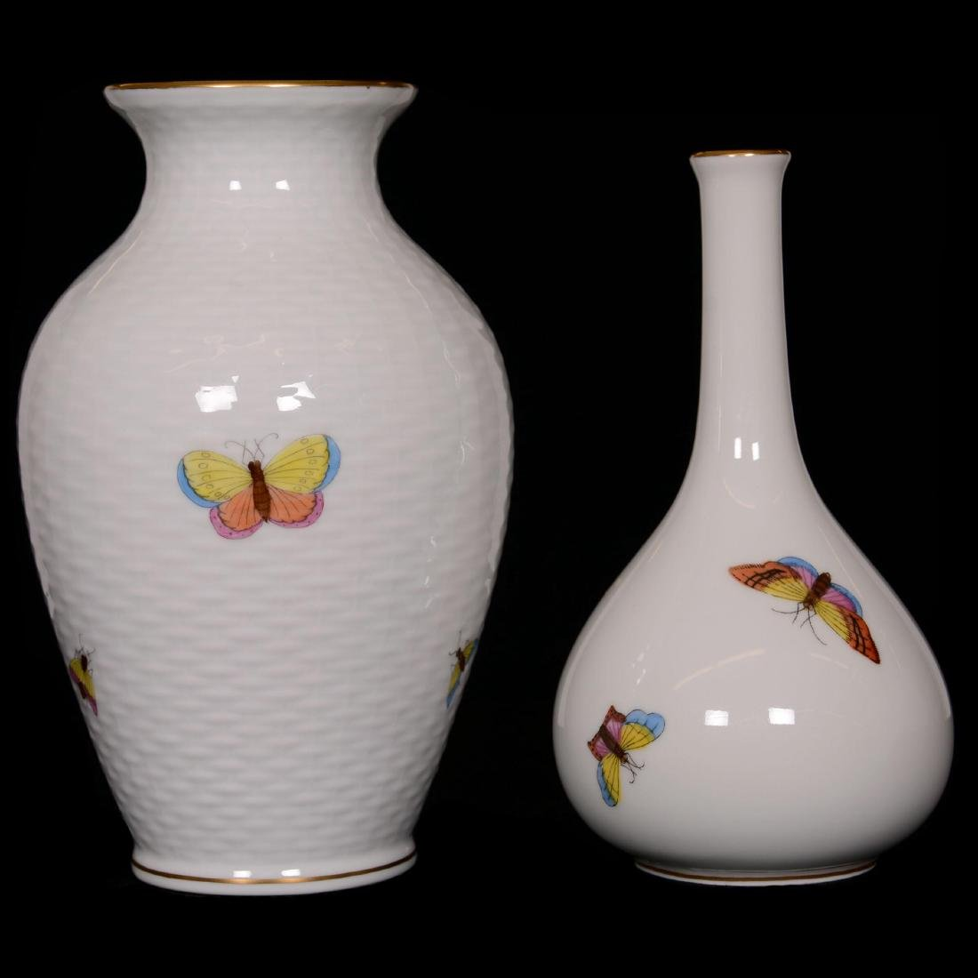 (2) Herend Hungary Porcelain Hand Painted Vases - 2