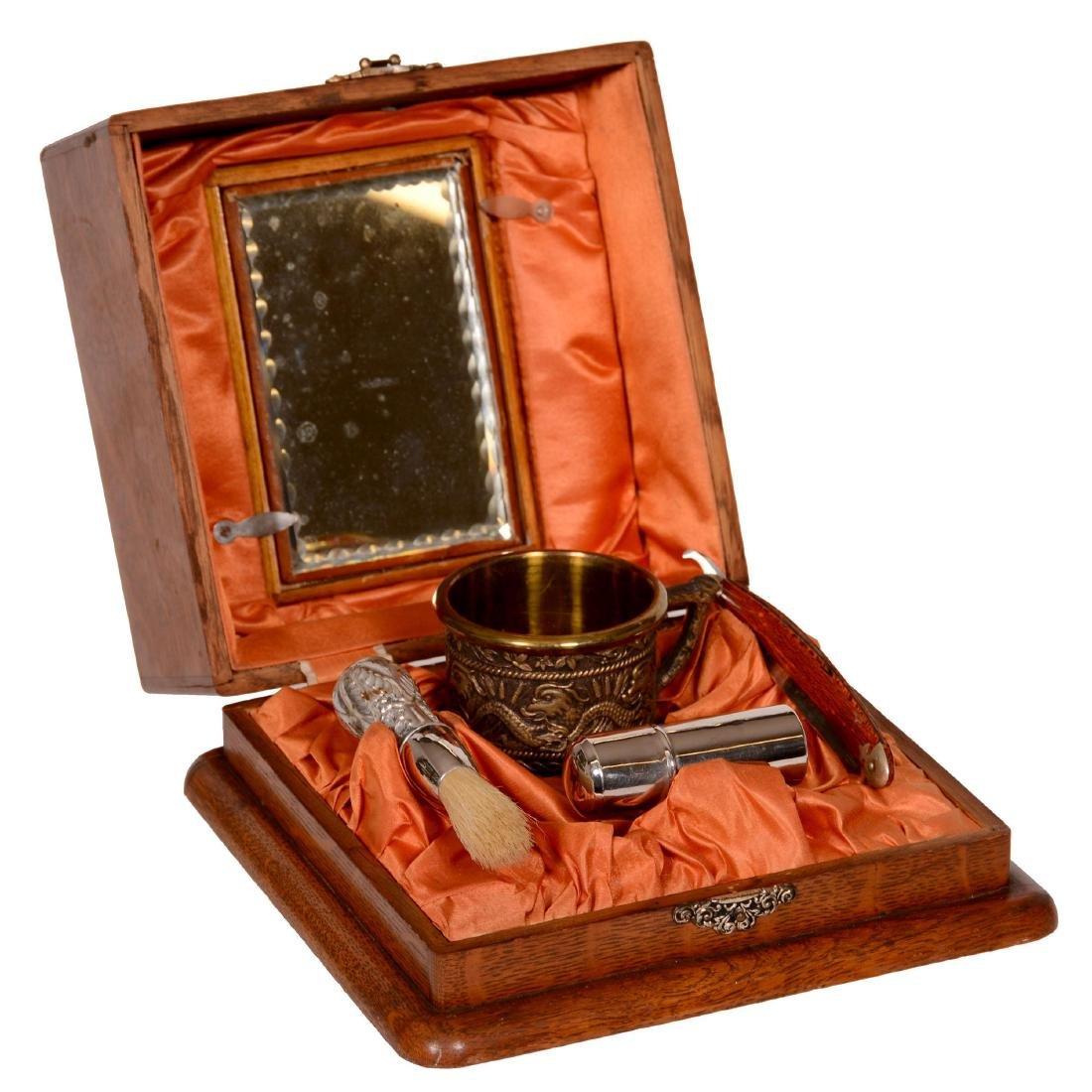 Victorian Oak Shaving Box