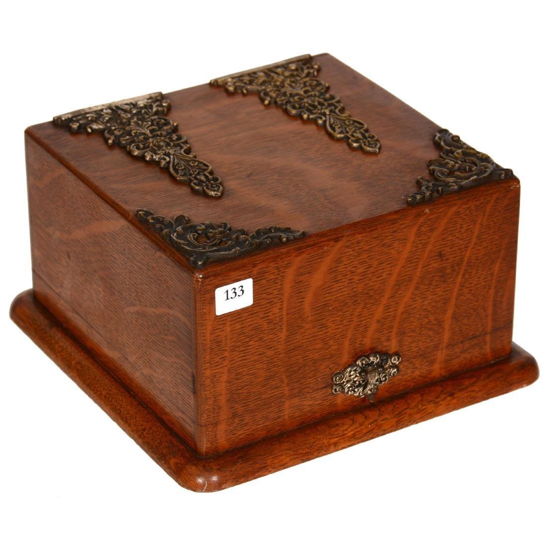 Victorian Oak Shaving Box - 2
